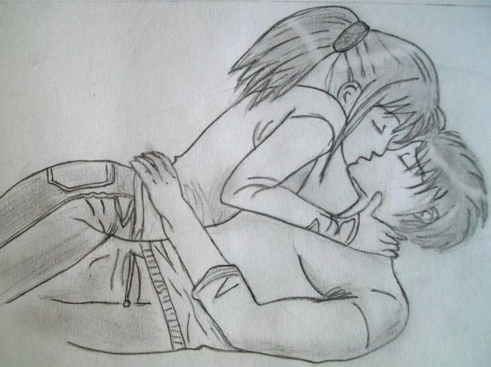 Нарисовать целующуюся пару карандашом поэтапно