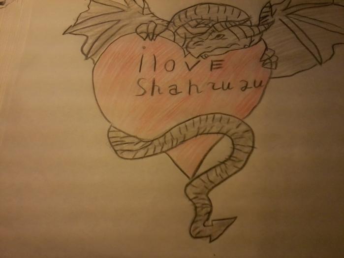 Как нарисовать сердце в лапах дракона