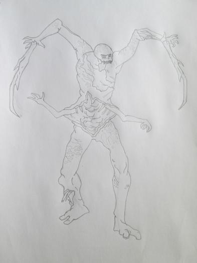 Как нарисовать Некроморфа из Dead Space карандашом поэтапно.