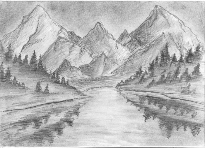... озера возле гор карандашом поэтапно: purmix.ru/lessons.php?k=1684