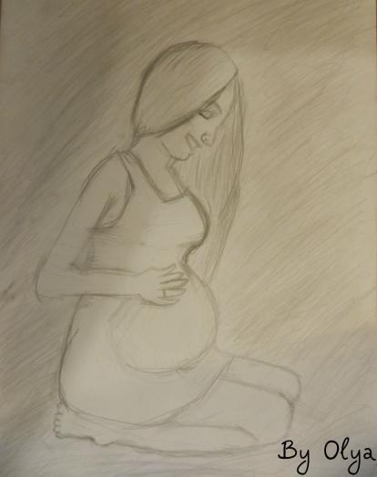 Беременная девушка для срисовки 6