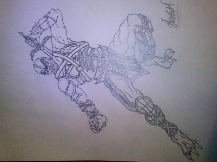Как рисовать мортал комбат скорпион