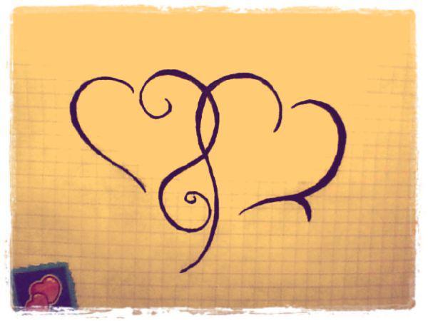 Как нарисовать татуировку два сердца