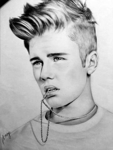 Джастин нарисован карандашом