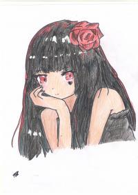 Как нарисовать милую аниме девушку с розой поэтапно