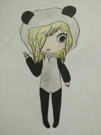 Как нарисовать милую девочку- Чиби в кигуруми-пандочка