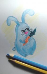Как нарисовать кролика с морковкой
