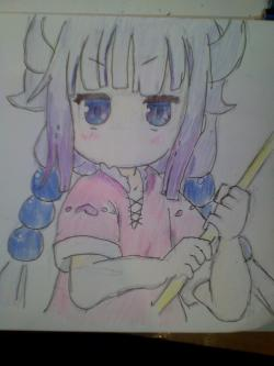 Как нарисовать Канну из аниме Дракон горничная госпожи Кобояши