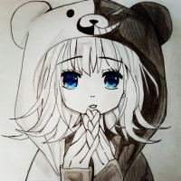 Как нарисовать девочку из аниме Школа отчаяния поэтапно