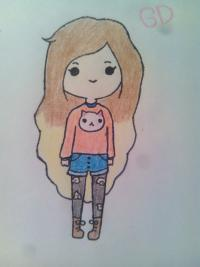 Как нарисовать девочку- хипстера цветными карандашами поэтапно
