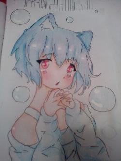 Девушка неко с голубыми волосами