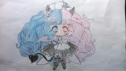 Как нарисовать грустную милую чиби девочку с рожками