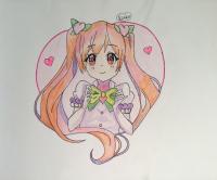 Как нарисовать милую аниме девочку с сердечком карандашом поэтапно