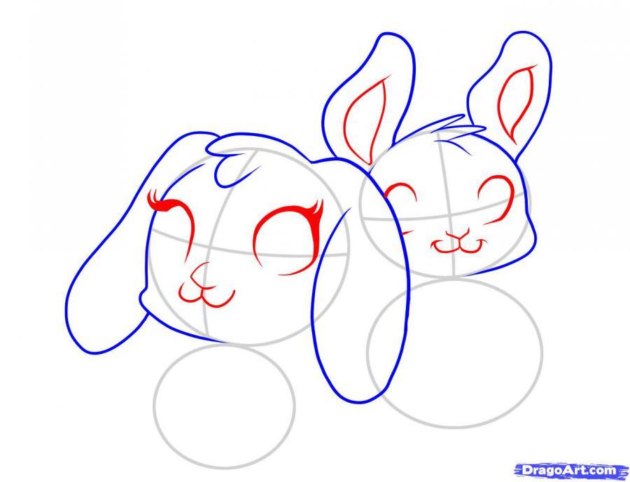 Рисуем двух пасхальных кроликов - шаг 2