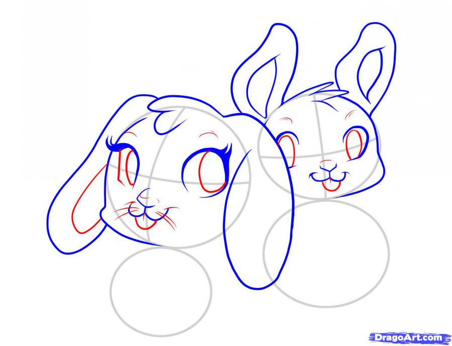 Рисуем двух пасхальных кроликов - шаг 3