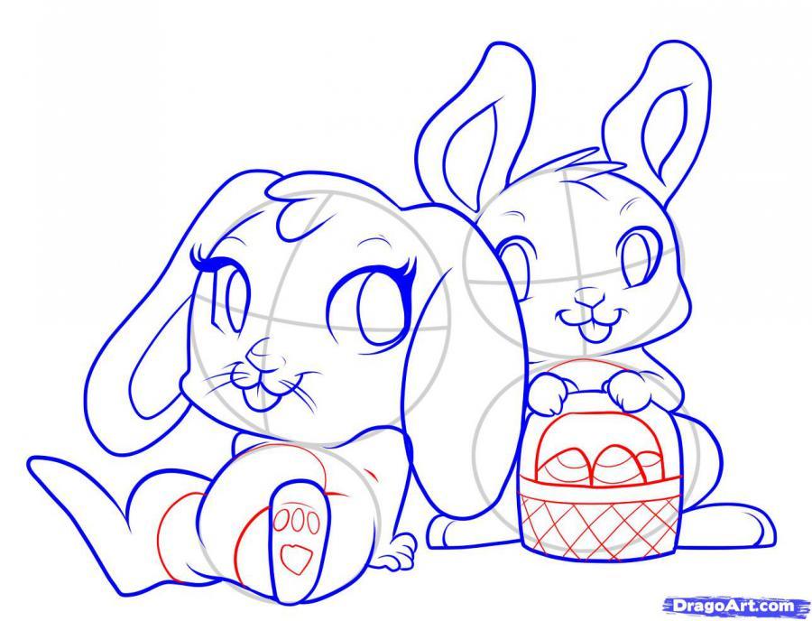 Рисуем двух пасхальных кроликов - шаг 6