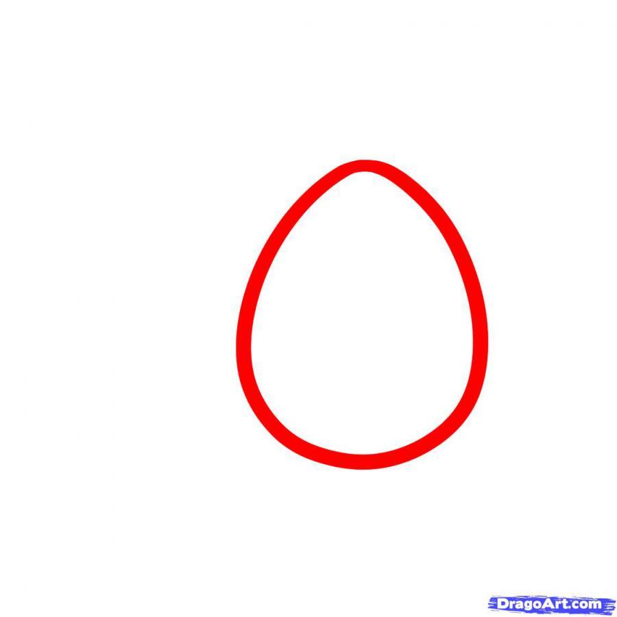 Как просто нарисовать пасхальные яйца  на бумаге - шаг 1