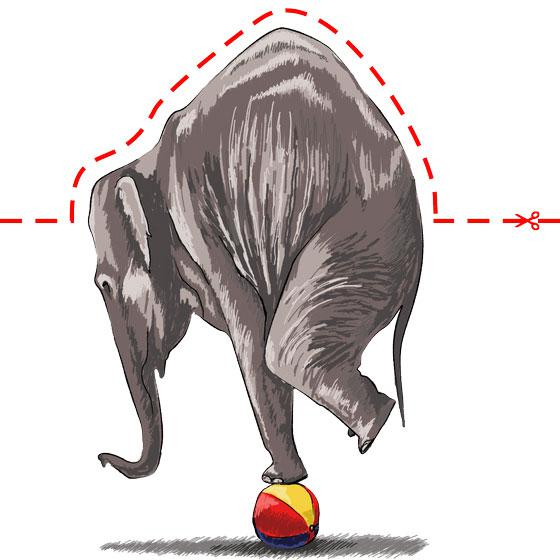 Как научиться нарисовать 3Д слона на мяче - шаг 10