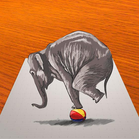 Как научиться нарисовать 3Д слона на мяче - шаг 11