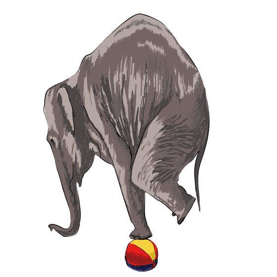Как научиться нарисовать 3Д слона на мяче - шаг 5