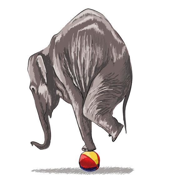 Как научиться нарисовать 3Д слона на мяче - шаг 7