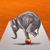 Как научиться нарисовать 3Д слона на мяче