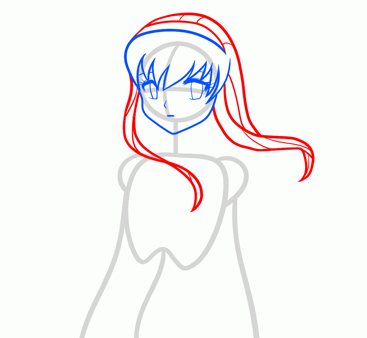 Рисуем аниме девушку ангела карандашами - шаг 3