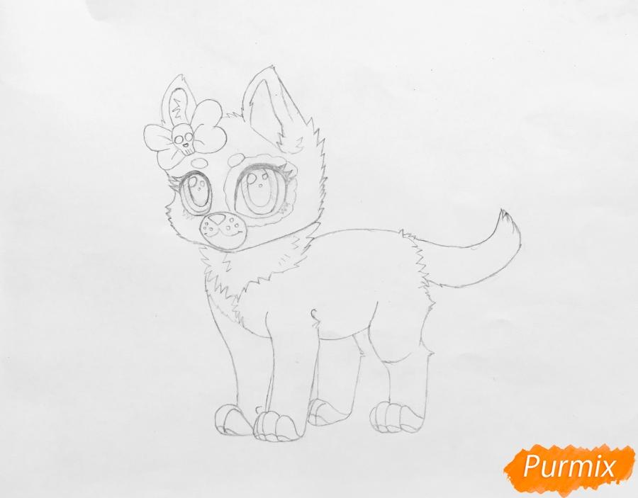 Рисуем зеленоглазую  чёрно-серую аниме кошку с розовым бантиком - шаг 5