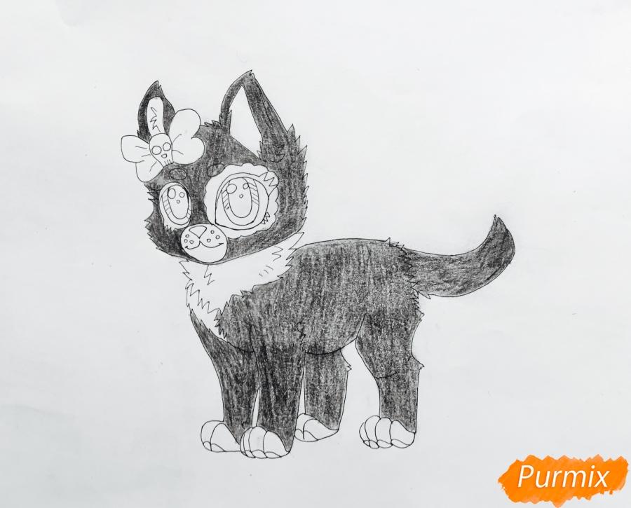 Рисуем зеленоглазую  чёрно-серую аниме кошку с розовым бантиком - шаг 7