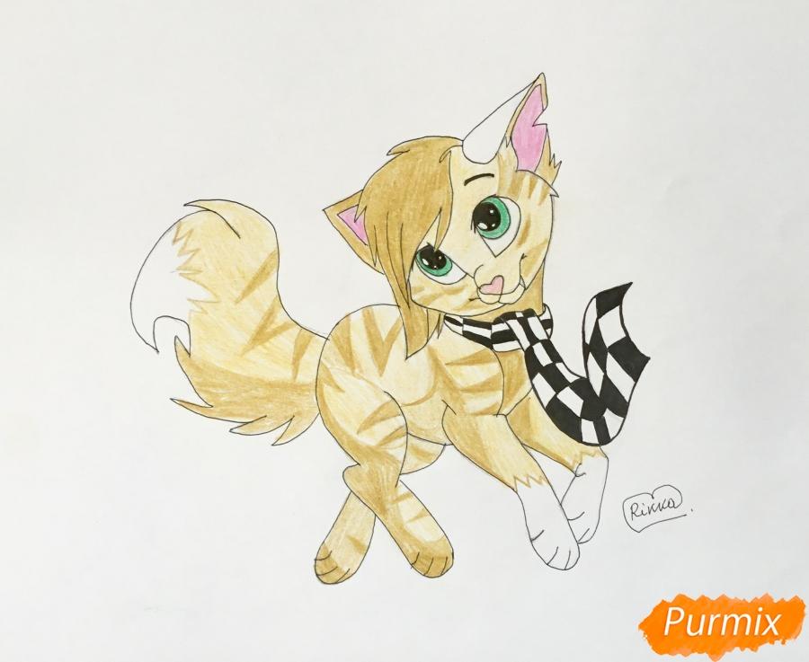 Золотая аниме кошечка в шарфике - шаг 10