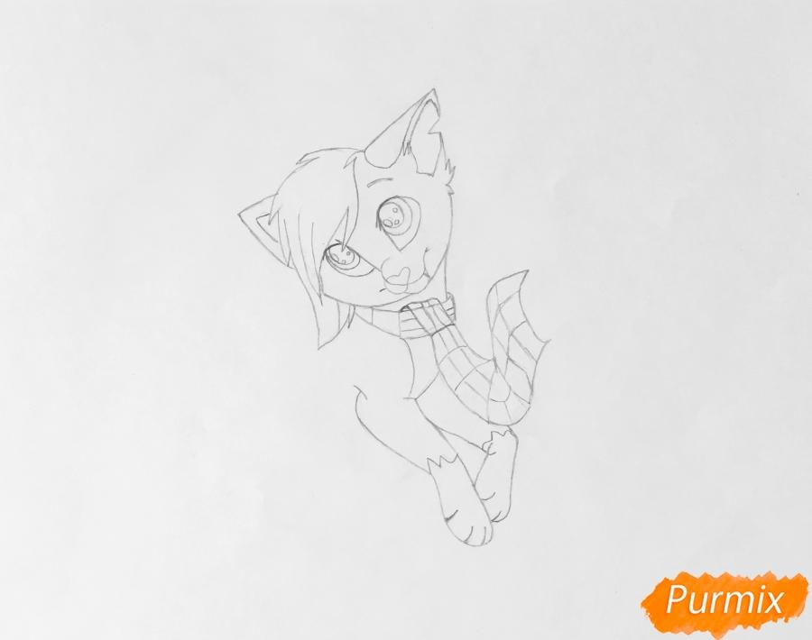 Золотая аниме кошечка в шарфике - шаг 4