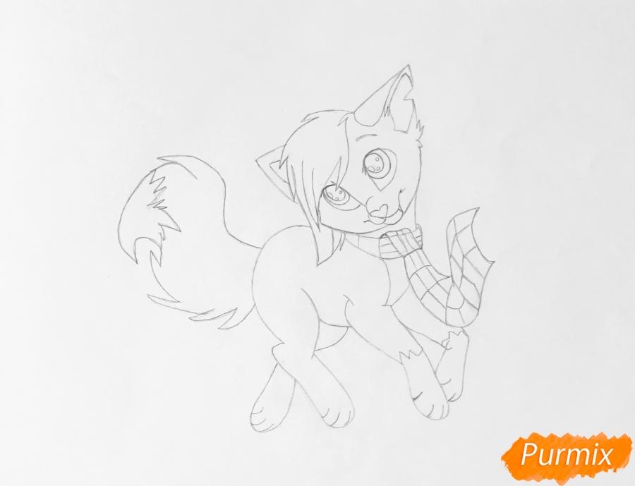 Золотая аниме кошечка в шарфике - шаг 6