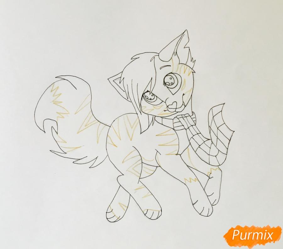 Золотая аниме кошечка в шарфике - шаг 8