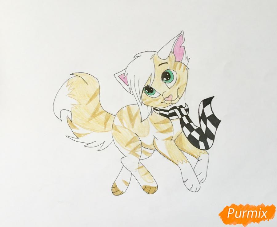 Золотая аниме кошечка в шарфике - шаг 9