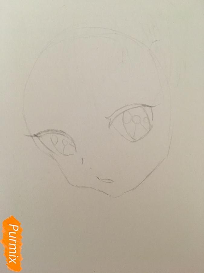 Рисуем аниме девочку неко с короной простыми карандашами - шаг 1