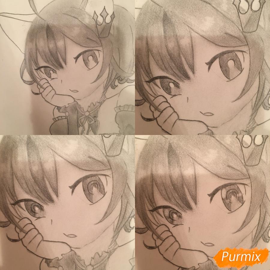 Рисуем аниме девочку неко с короной простыми карандашами - шаг 10