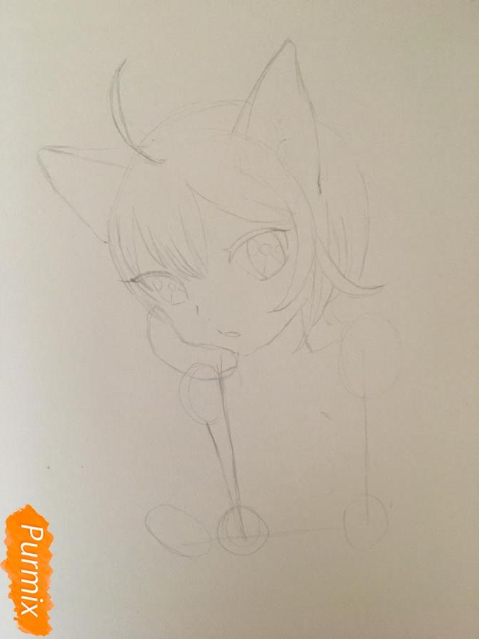 Рисуем аниме девочку неко с короной простыми карандашами - шаг 3