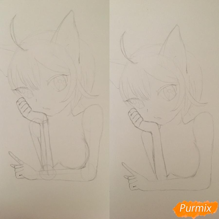 Рисуем аниме девочку неко с короной простыми карандашами - шаг 4