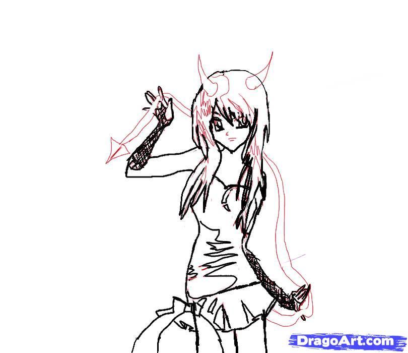 Рисуем аниме девушку-демона карандашами - шаг 5