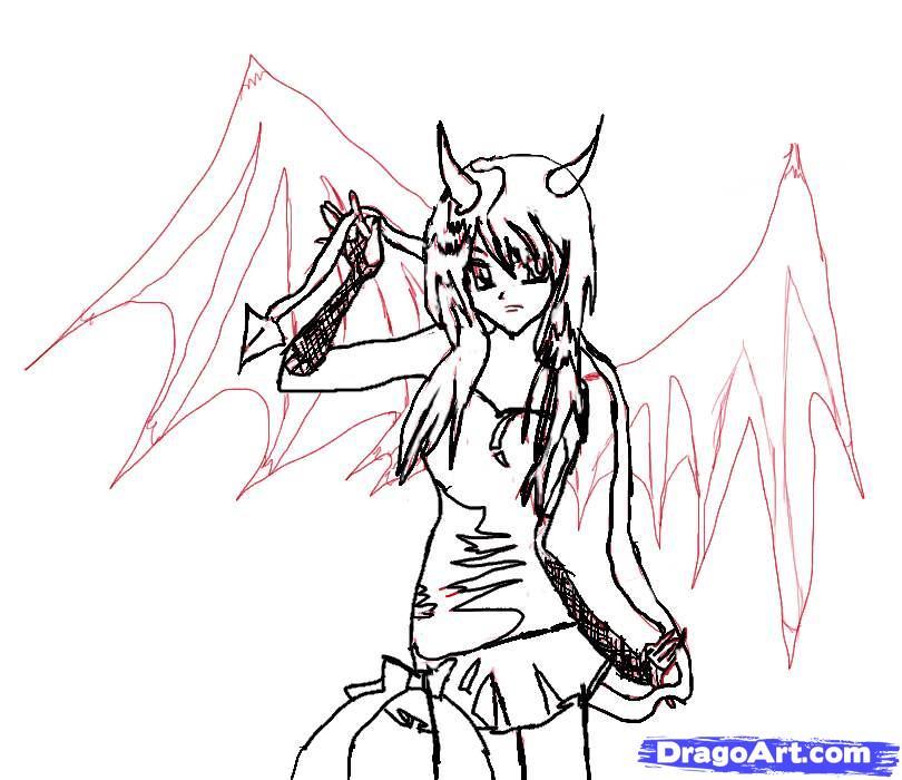 Рисуем аниме девушку-демона карандашами - шаг 6