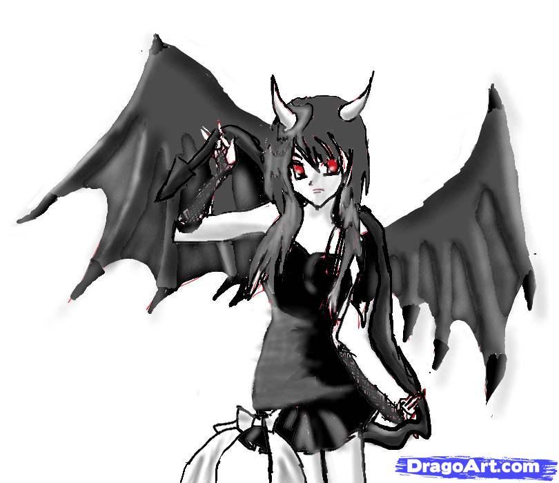 Рисуем аниме девушку-демона карандашами - шаг 7