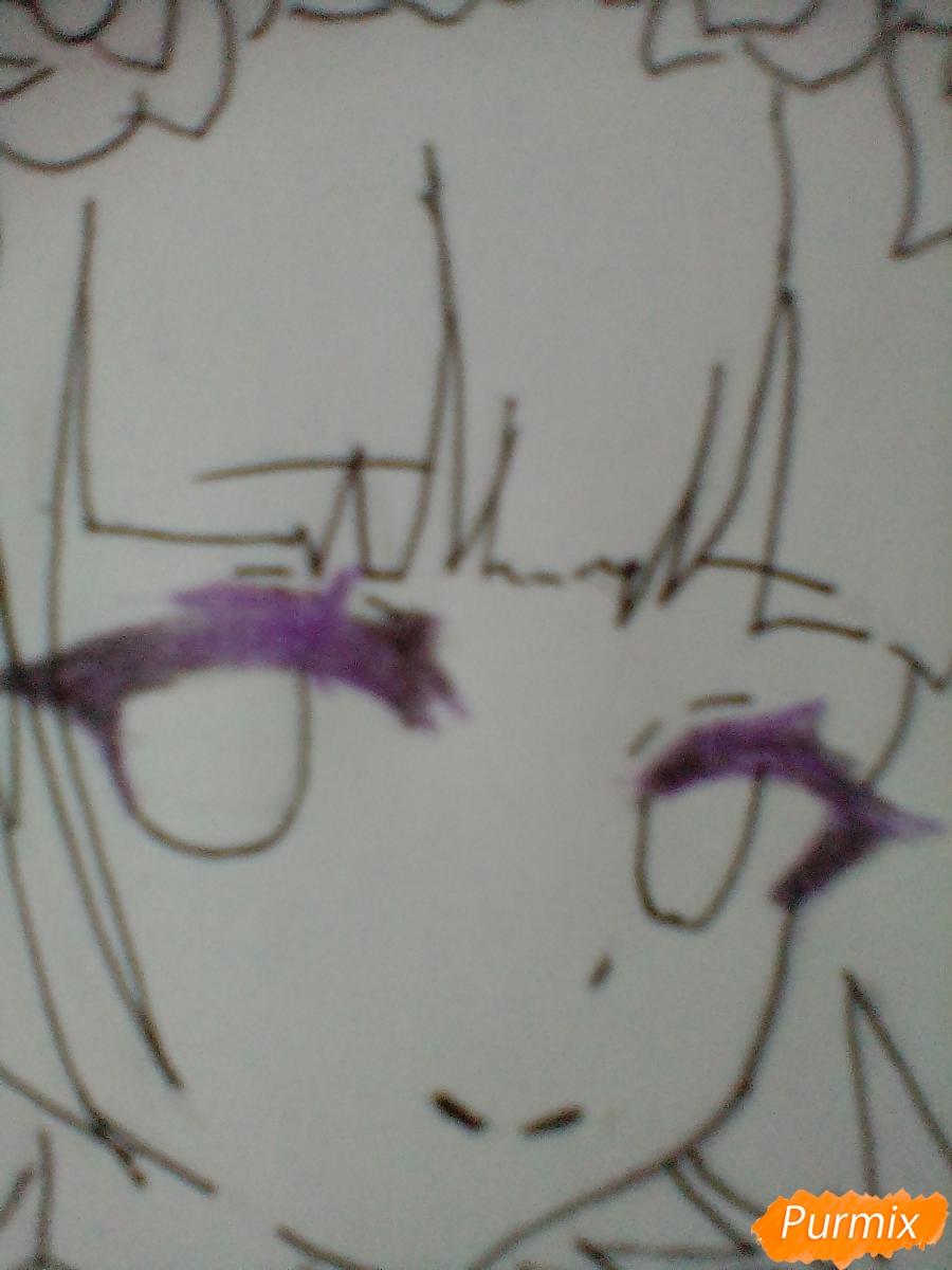 Девушка ангел с арфой в аниме стиле - шаг 11