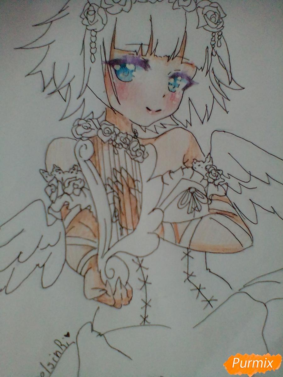 Девушка ангел с арфой в аниме стиле - шаг 12
