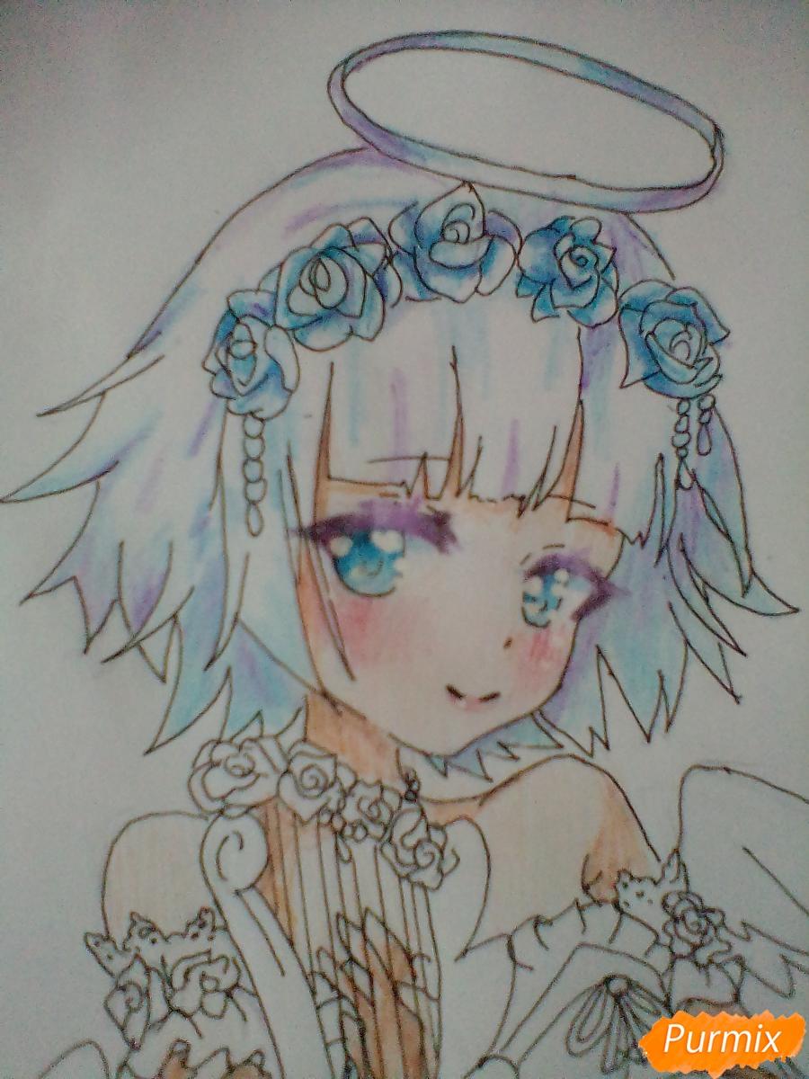 Девушка ангел с арфой в аниме стиле - шаг 13