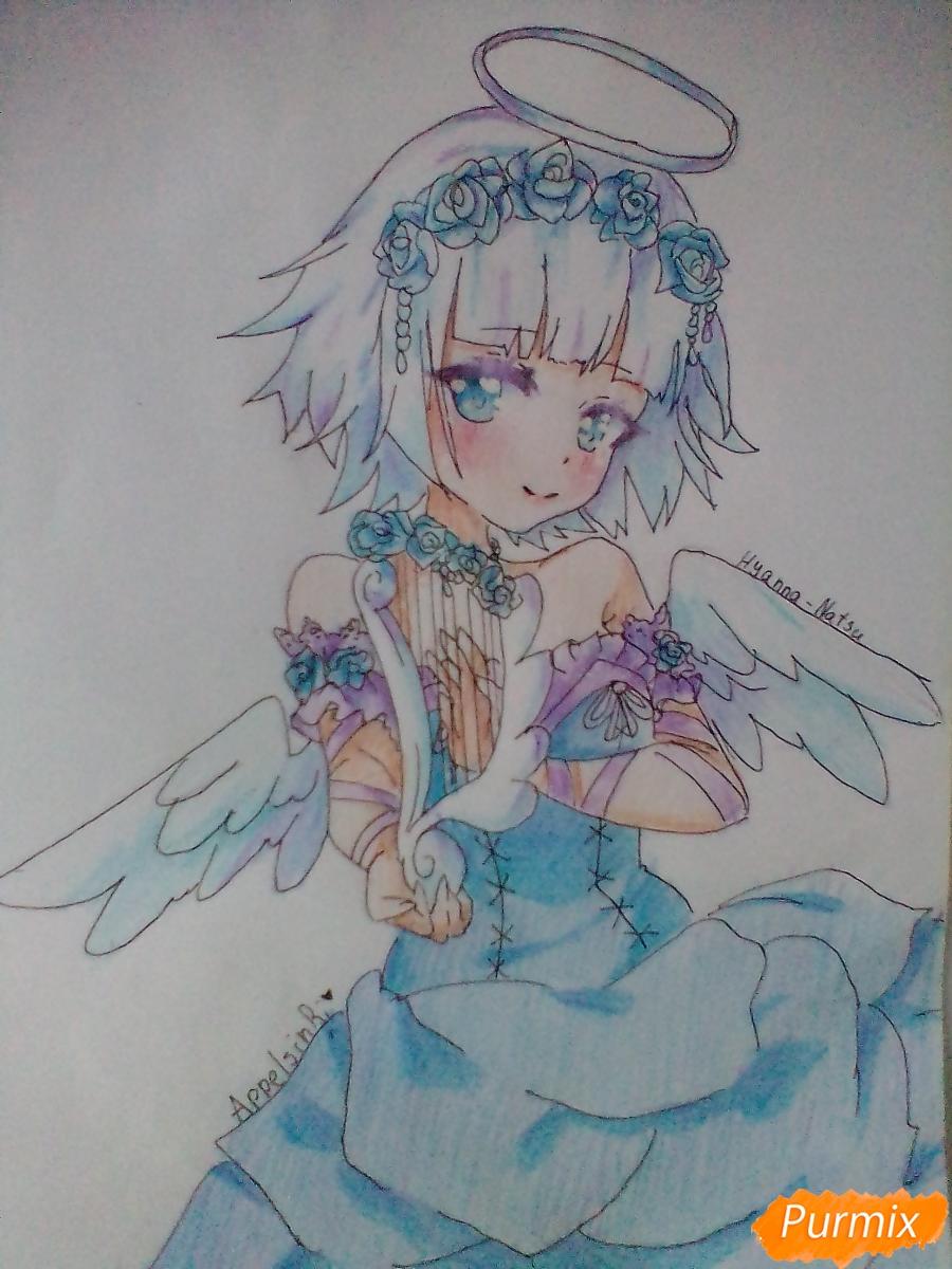 Девушка ангел с арфой в аниме стиле - шаг 15