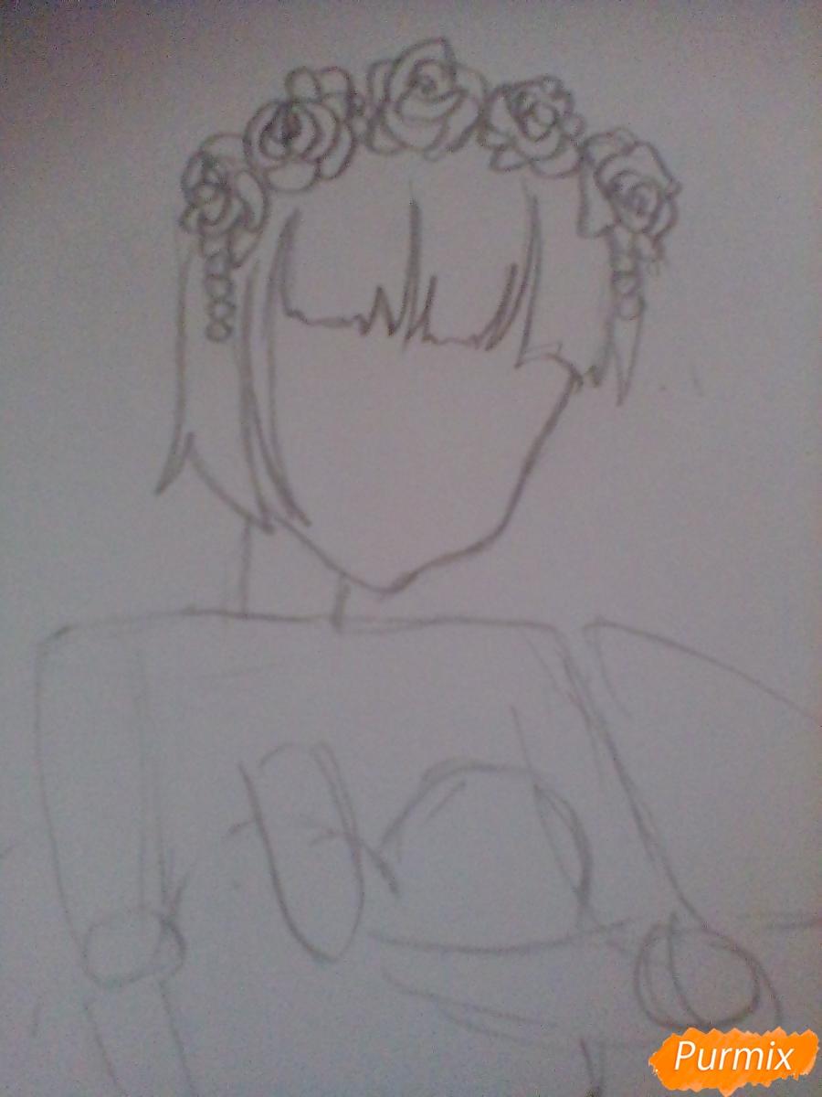 Девушка ангел с арфой в аниме стиле - шаг 2