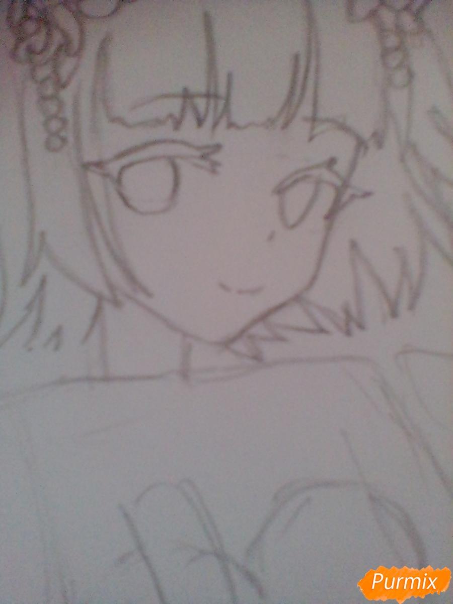 Девушка ангел с арфой в аниме стиле - шаг 4