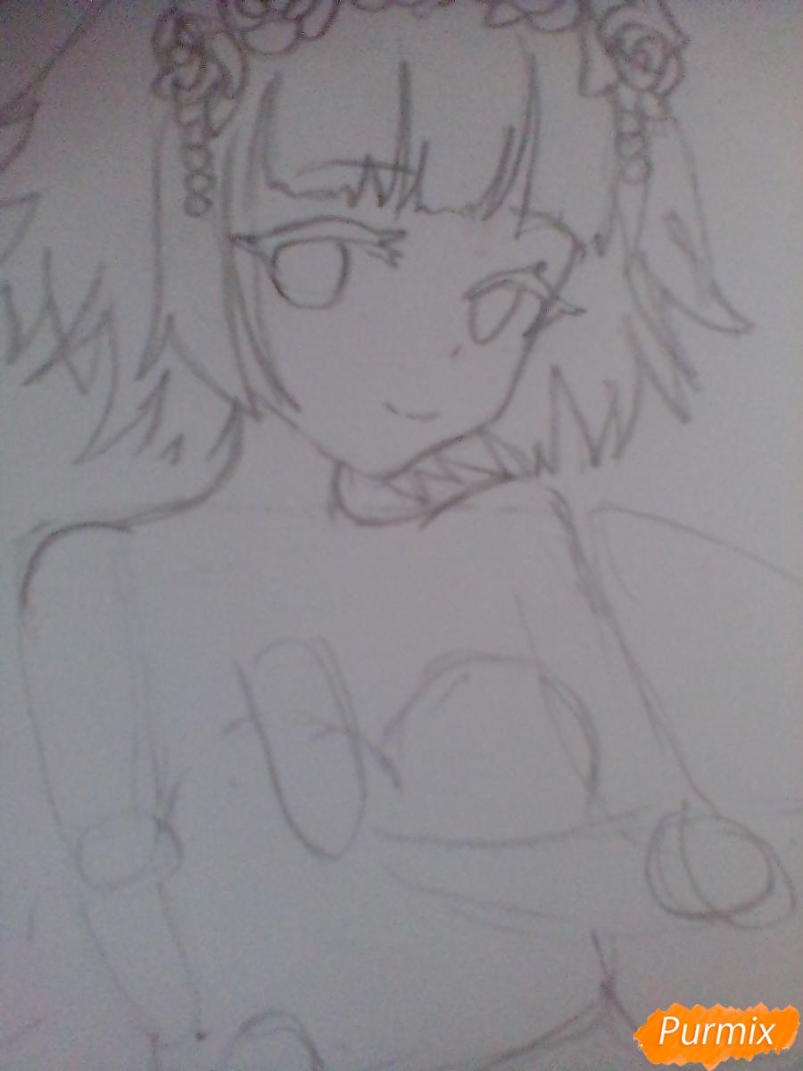 Девушка ангел с арфой в аниме стиле - шаг 5
