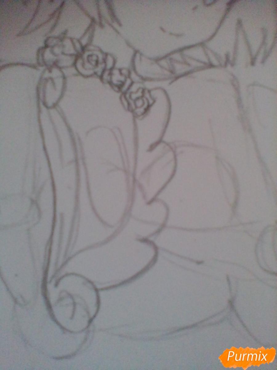 Девушка ангел с арфой в аниме стиле - шаг 6