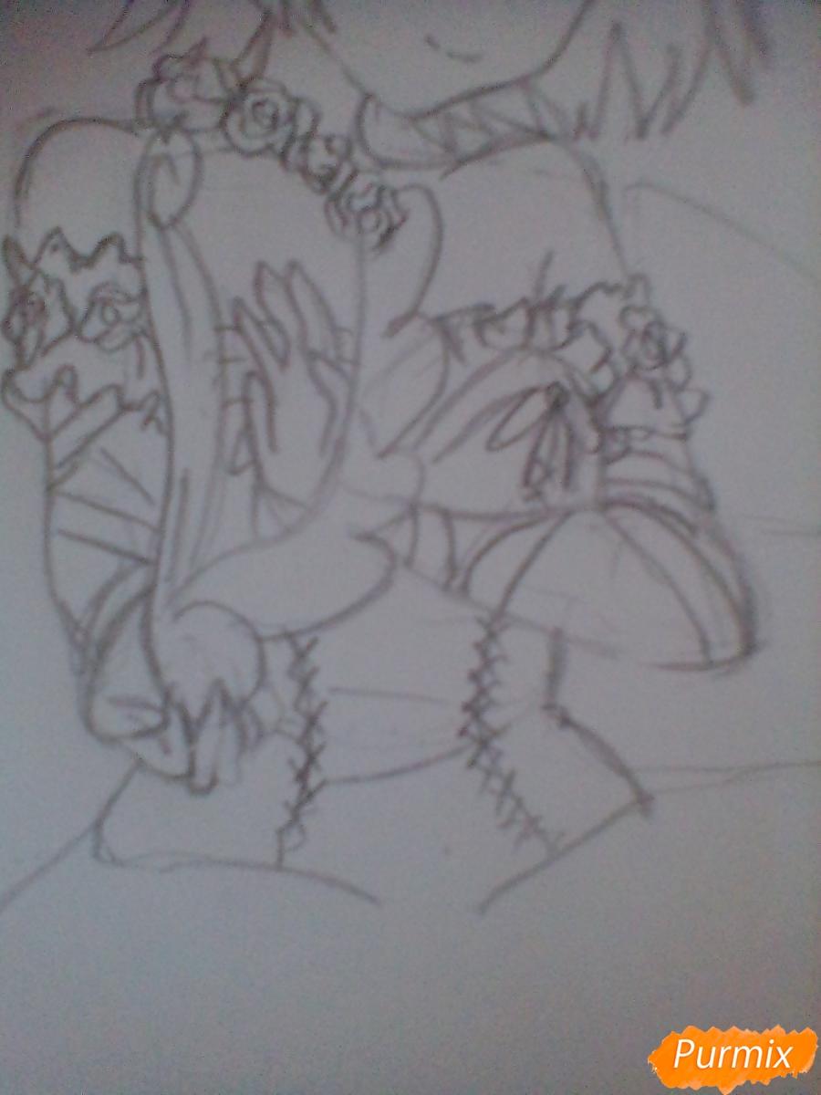 Девушка ангел с арфой в аниме стиле - шаг 7